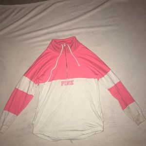 pink and white quarter zip sweatshirt from 'PINK'